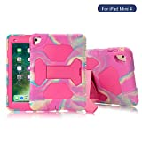 KIDSPR Global Design New iPad Mini 4 Case Silicone Drop Resistant [Full-body Shockproof] [Kids Friendly] Protective Cover Case With Stand Super Protection for iPad Mini 4 Tablet(Camo Pink)