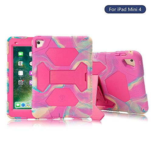 iPad Mini 4 Case, ACEGUARDER Kidsproof Shockproof Impact Risistance Heavy Duty Full Body Protective Cover Stand Case for iPad Mini 4 (Camo-Pink)
