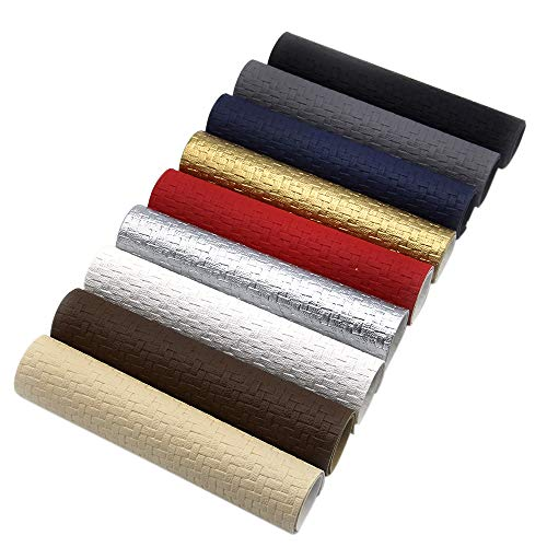 Leather Braided Gold - David Angie Weave Embossed Textured Faux Leather Fabric Sheet 9 Pcs 8