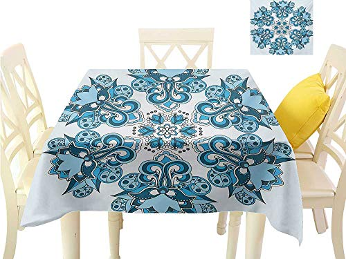 familytaste Outdoor tablecloths Mandala,Ethnic Universe Figure Icon Floral Oriental Cultural Folk Art Pattern Print,Sky Blue Blugrey 3D Dital Printing Covers W 70