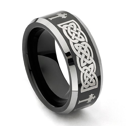8mm Black Plated Cobalt Free Celtic Design with Centered Cross Tungsten Carbide Beveled Edge Comfort-Fit Wedding Band Ring (Size 8 to 14) - Size (Cross Tungsten Wedding Band)