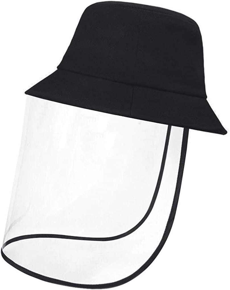 Men Women Breathable Cotton Bucket Hat with Removable Anti Spitting Saliva Face Shield Protection Hat Outdoor Safety Fisherman Hat Anti-Fog Face Cover Mask Black