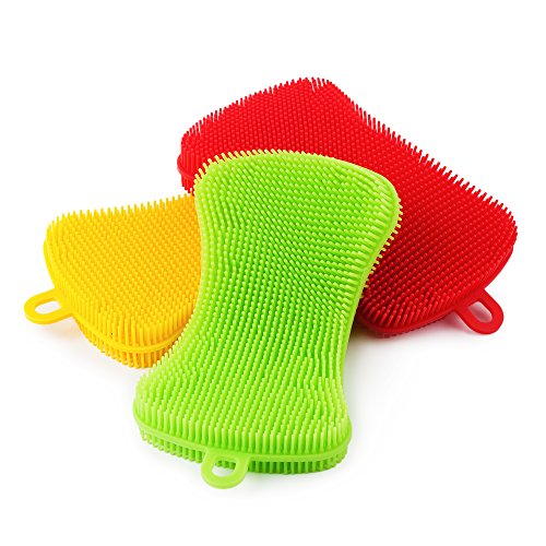 Purpose Dish Brush (Miracle Market Silicone Sponges | Antibacterial Non Scratch Multi-purpose Washing Brush for Kitchen, Household and Dish Cleaning, Pot Holder | Pack of 3 Scrubber Sponge In Colors Green, Yellow and Red)