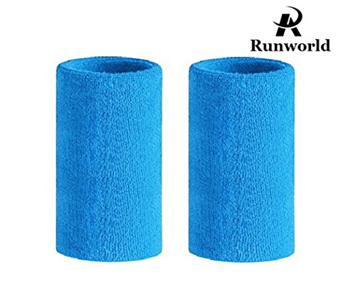 - Runworld 6 Inch Sweatband/Cotton Sports Basketball Football Tennis Absorbent Wristband - Terry Cloth Athletic Wrist Sweat band Fits to Men Women (Pair) (Sky Blue)