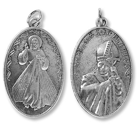 BULK Deluxe Divine Mercy Blessed John Paul II Devotional Medal Pendant Deluxe Catholic Gift Bible