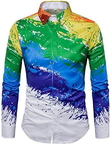 Whatlees Mens Geek Psychedelic Splash-Ink Printed Slim Fit Long Sleeve Dress Shirts