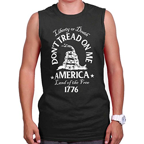 Don't Tread on Me Snake Flag Political USA Sleeveless T Shirt Black