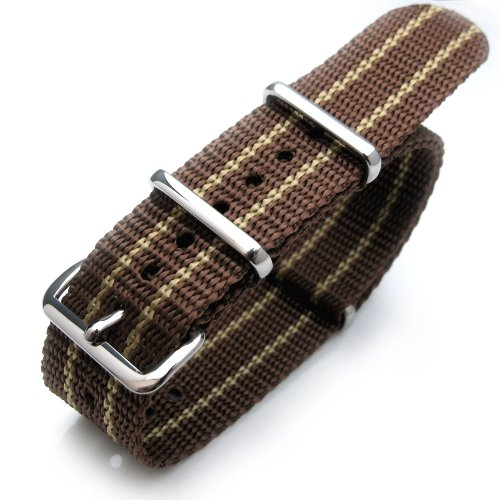 20mm G10 Nato James Bond Heavy Nylon Strap Polished Buckle - JT21 Brown & Yellow