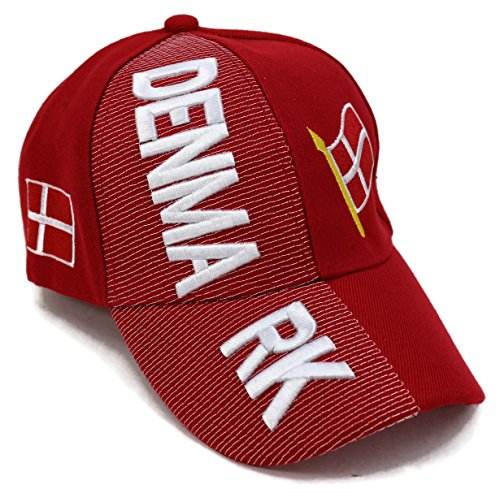 """Vibrant Red Wool Hat (High End Hats """"Nations of Europe Hat Collection"""" Embroidered Adjustable Baseball Cap, Denmark with Flag, Red)"""