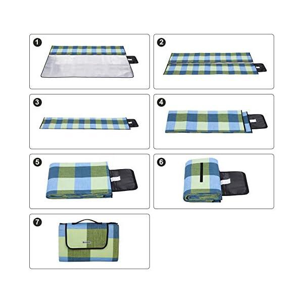 51wSK%2BtQe2L SONGMICS wÄrmeisoliert Wasserdichte Picknickdecke, Stranddecke mit Tragegriff , GCM50C, 195 x 150 cm, Blau