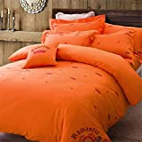 Bedding Collection Satin Chinese shtyle Vintage Embroidery 4 Piece Bed Sheet Set Durable Egyptian Cotton Duvet Cover Flat Sheets Pillowcases Size Full Queen Orange , full