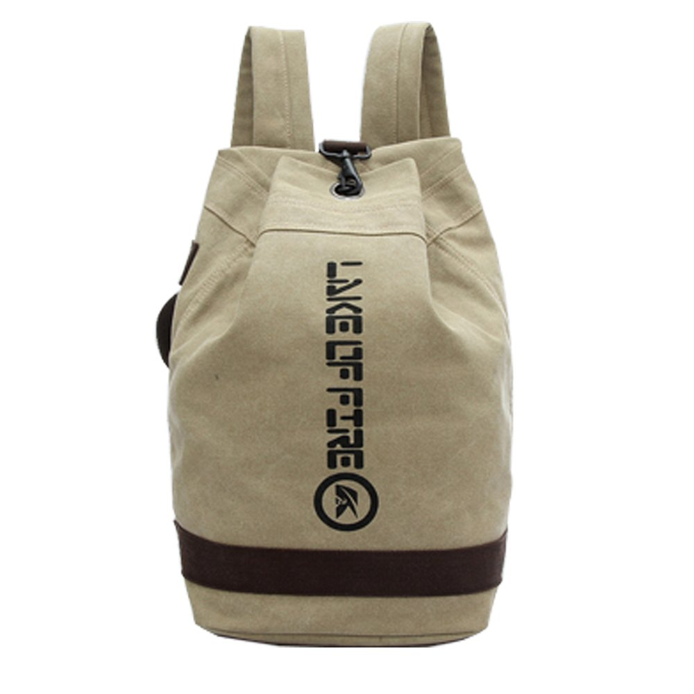 Beige YuanChuan European and American fashional style Bucket type canvas backpack