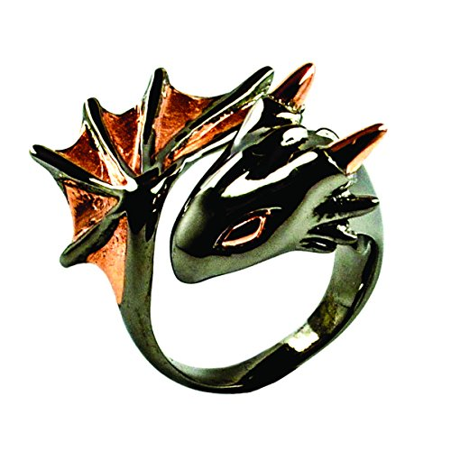 (Twilight Dragon Ring by MONVATOO London, a free-size (adjustable band) black ruthenium and 18k pink-gold plated dragon ring jewelry)