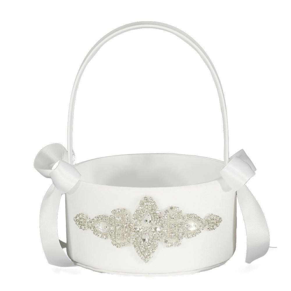 LAPUDA Flower basket series-Wedding Flower Basket, Flower Girl' Basket, Rhinestone Flower Basket (white, Style HL0255)