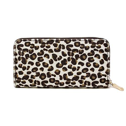 Zebra Print Checkbook Wallet - Me Plus Women Faux Fur Animal Print Furry Leopard Zebra Wallet Zipper Closure Card Slots Zippered Coin Pouch (Leopard-Ivory)