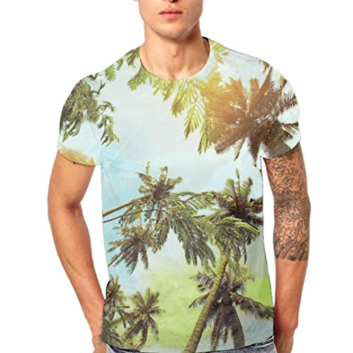 Heritage Long Sleeve Thermal Tops - vermers Clearance Sale Mens Fashion T Shirts - Summer Leaf 3D Printing Tees Casual Short Sleeve Tops(L, Green)