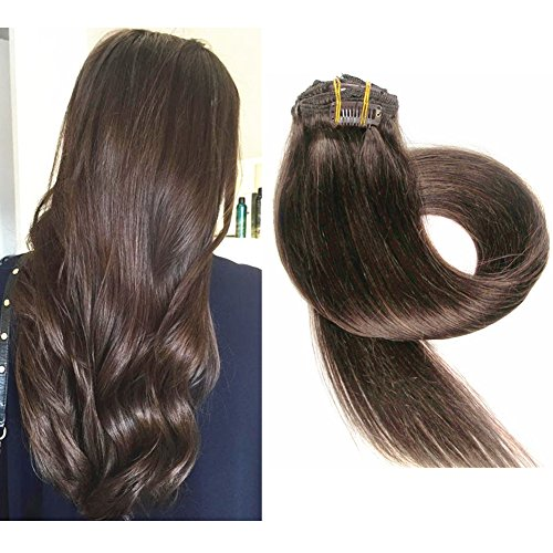 TheFashionWay Brazilian Human Hair Extensions Clip in Silky Straight Weft Remy Virgin Hair (15 inches, #4) - Feather Clip In Hair Extension