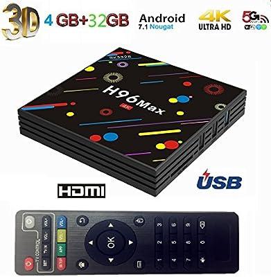 4GB + 32 GB H96 Max Smart 4 K TV Box Android 7.1.2 RK3328 Quad Core CPU Set Top Box Compatible con 3d 4 K ultra HD TV k17.4: Amazon.es: Electrónica