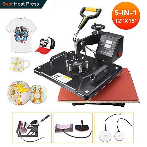 "Power Heat Press Machine 12"" X 15"" Professional Swing Away Heat Transfer 5 in 1 Digital Sublimation 360-Degree..."