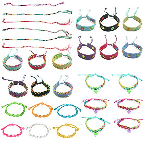 30 PCs Friendship Bracelets for Girls, Teens, Women - Handmade Woven Friendship Bracelet Bulk Set with 12 Party Favor Bags - Great for Gifts, Giveaways, Birthdays, Pinatas