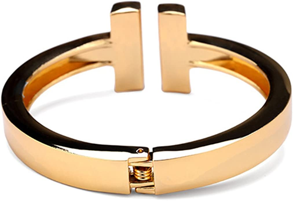 Men Women Spring Hinge Bangle Bracelet High Polished,3-Tone JAJAFOOK T-shape Style Zinc Alloy Bracelet