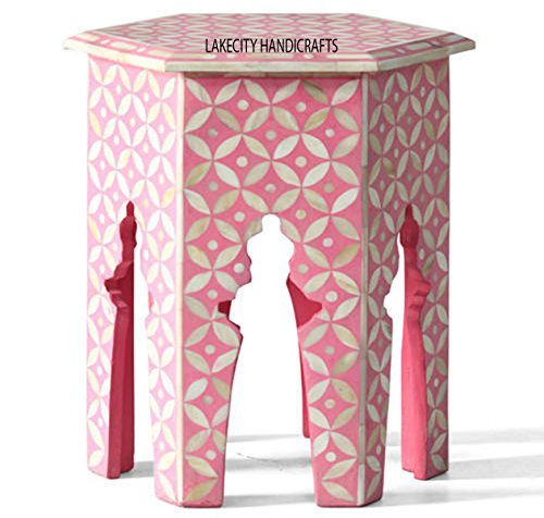 Bone Inlay Hexagonal Table Star Design in Pink color ()