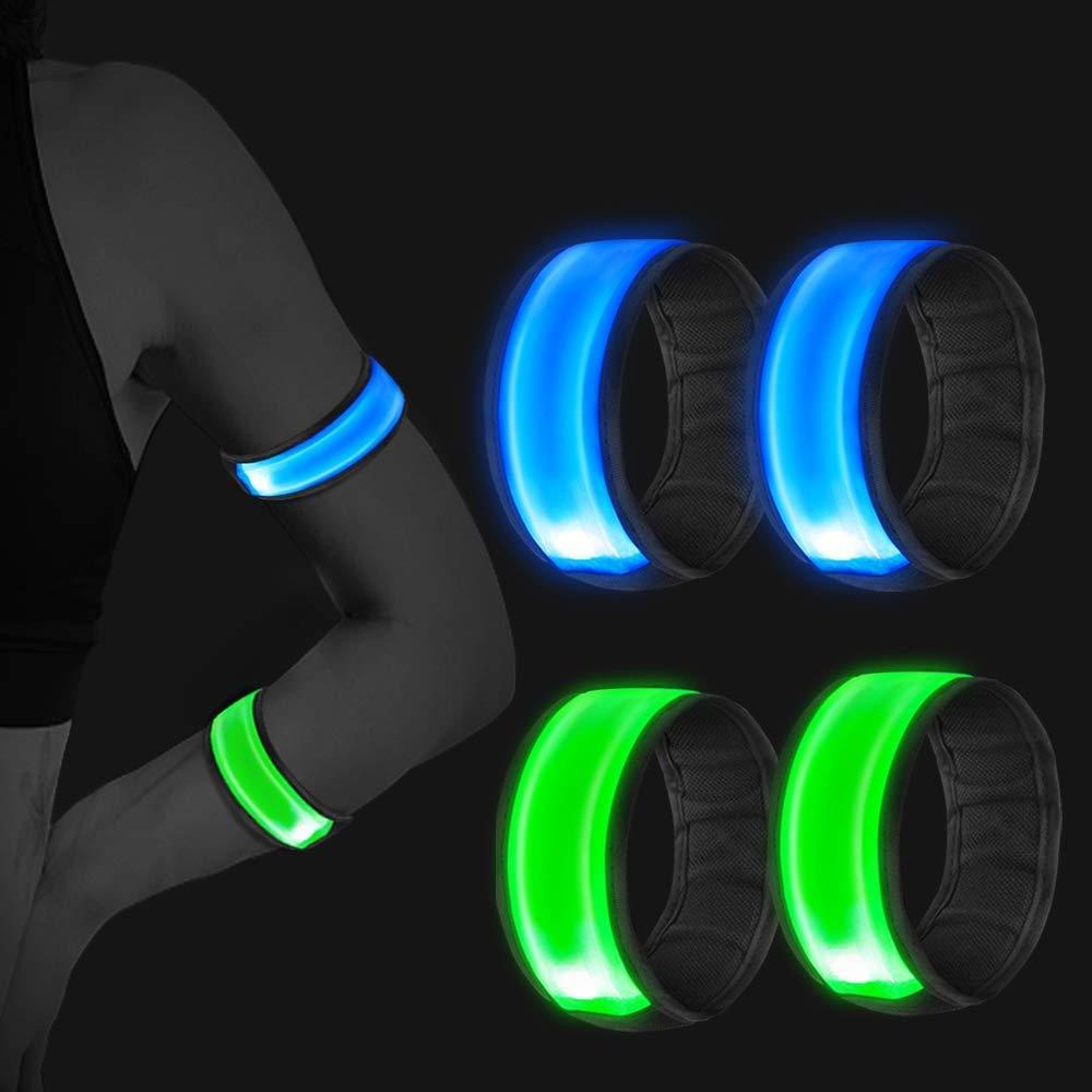WeyTy LED Armband, LED Slap Armband Reflektorband Sicherheitslicht Slap Band Reflective LED leucht Armbänder mit hoher Sichtbarkeit für Radfahren/Wandern/Joggen/Laufbekleidung( 4 Stück )