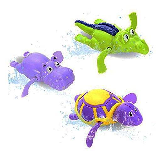 Nikay Sain Pool Wind Up Bath Toys Animals Turtle Hippo Crocodile Swimming Tub Bathtub Playset Clockwork Play Toy Kid Educational Water Toys, 3 Piece (Bath Time Baby Playset)