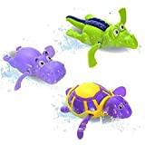 Nikay Sain Pool Wind Up Bath Toys Animals Turtle Hippo Crocodile Swimming Tub Bathtub Playset Clockwork Play Toy Kid Educational Water Toys, 3 Piece