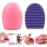 Pack of 2 Portable Silicone Cleaning Makeup Brush Glove Scrubber Board Cosmetic Clean Tools Brush Egg (Pink+Purple)