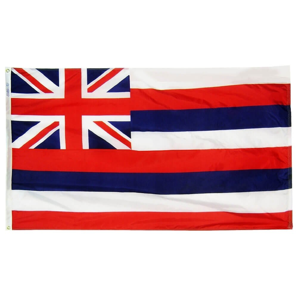 Annin Flagmakers Model 141270 Hawaii State Flag 4x6 ft. Nylon SolarGuard Nyl-Glo 100% Made in USA to Official State Design Specifications.