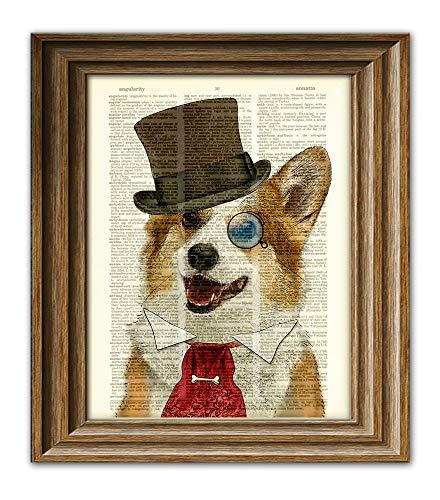 d816de119ac14 Dandy Corgi is the goodest boy dog in top hat and victorian tie steampunk  art vintage