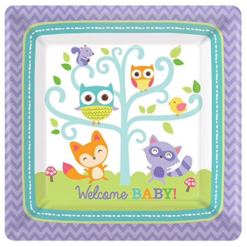 Amscan Lovable Woodland Welcome Baby Square Dinner Plates (8 Piece), 10