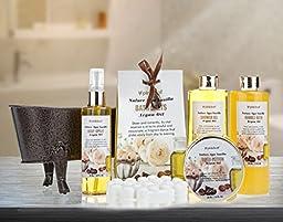 Pinkleaf Nature Spa Vanilla, Argan Oil, Bath Gift Set, in Antique Brass Looking Tub
