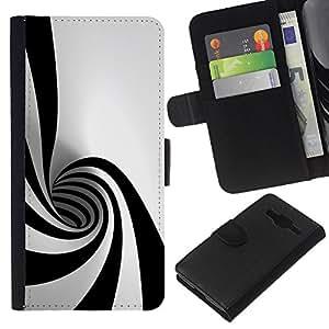 KLONGSHOP // Tirón de la caja Cartera de cuero con ranuras para tarjetas - Negro Blanco Hypnotic Forma Túnel Psychedelic Art - Samsung Galaxy Core Prime //