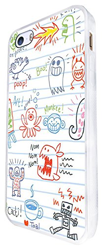 1386 - Cool Fun Trendy Cute Kawaii Sketch Illustration Monster Scary Alien Funny School Art Cartoon Design iphone SE - 2016 Coque Fashion Trend Case Coque Protection Cover plastique et métal - Blanc