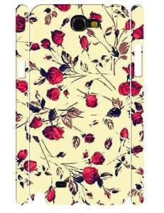 Flower Design Funky Ink Rose 3D Print Slim Phone Snap On Case for Samsung Galaxy Note 2 N7100