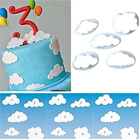 5 unds cortadores forma de nubes para reposteria tartas cumpleaños galletas, bizcochos o decoración de postres. reutilizables y resistentes