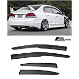 Extreme Online Store for 2006-2011 Honda Civic 4Dr Sedan | EOS Visors JDM Mugen ll Tape On Style Side Vent Window Deflectors Rain Guard FD1 FD2 Si
