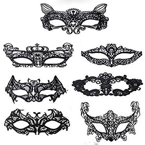 HAOYOYU 7 Piece - Luxury Lace Mask Women's Black Masquerade Venice Eye Mask Halloween Masquerade - Halloween Mask (B Suit) ()