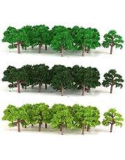 sharprepublic 75 Stuks Green Trees Modelspoor Wargame Diorama Garden Scenery Schaal 1: 300