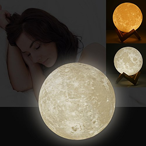 Fosa Night Light 3D Printing Moon Lamp LED Night Light Rechargeable Luna Night Light with 2 Color Change Touch Switch & Brightness W/ USB Charging Bedroom Bookcase Night Light Home Decor Creative Gift