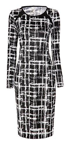 Lukis Damen Etuikleid Frühling Kleid Streifen Slim Style Casual