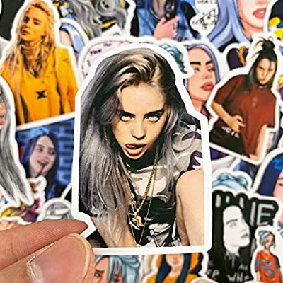 50 PCS Billie Eilish Stickers Pack Waterproof for On Suitcase DIY Laptop Guitar Skateboard Lovely Singer Cartoon Sticker: Kitchen & Dining