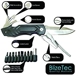 BlizeTec Multitool Pocket Knife Pliers: 15 Functional Tools with Shape Drop Point Serrated Edge Folding Knife, Multi Pliers, Can/Bottle Opener, Phillips Screwdriver, Bit Holder & 9 Utility Sets