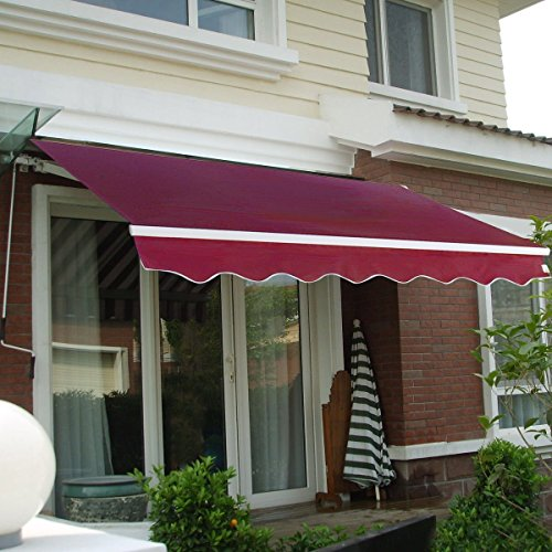 12' x 10' DIY Manual Patio Retractable Deck Awnings Sunshade Shelters Door Window Canopies Canopy (Wine Red) by Mefeir