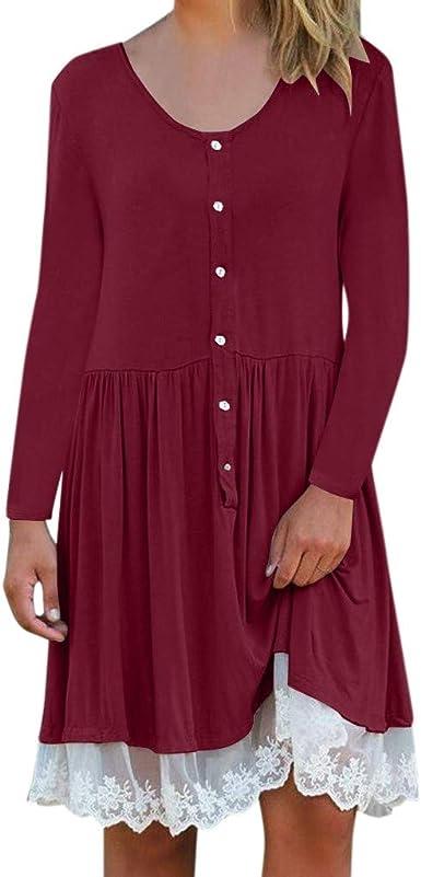 Falda Jumpsuit Vestido Vestido de Panel de Encaje Color Liso ...