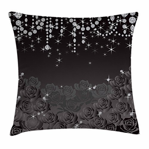 Engagement Square Accent - FunnyLife Diamonds Throw Pillow Cushion Cover, Blooming Abstract Roses and Little Droplets of White Marriage Engagement, Decorative Square Accent Pillow Case Dark Brown Silver