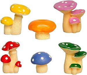 Mashrooms, 6 or 7 in one Set, Miniature Ornaments Kit for DIY Fairy Garden, Mini Landscape, Fairy Garden Accessories (6)
