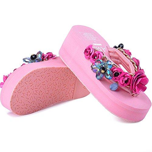 Btrada Plattformar Flip Flops Sandaler För Kvinnor-sommarstrand Kilar Tjocka Botten Halk Klipp Tå Diabilder Rosa